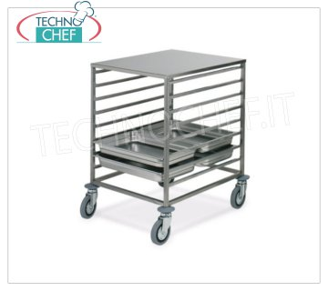 TECHNOCHEF - TROLLEY for 8 GN 2/1 TRAYS with TOP STAINLESS STEEL, Mod.2074 TRAY RACK TROLLEY with STAINLESS STEEL SUPPORT TOP, with Anti-tip Rails '' C '' for 8 GN 2/1 TRAYS (mm 530x650), dim.mm.650x720x850h