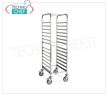 TECHNOCHEF - STAINLESS STEEL TROLLEY for 14 TRAYS cm.60x40, Mod.2076 STAINLESS STEEL RACK TROLLEY with '' L '' guides for 14 TRAYS mm 600x400, dim.mm.520x720x1630h