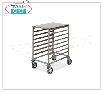 TECHNOCHEF - TROLLEY for 8 TRAYS cm.60x40 with STAINLESS STEEL TOP, Mod.2078 TRAY-RACK TROLLEY with SUPERIOR STAINLESS STEEL SUPPORT (455x650 mm), with '' L '' guides for 8-TRAY mm 600x400, dim.mm.520x720x850h