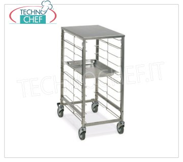 TECHNOCHEF - TROLLEY for 9 GN 1/1 TRAYS with STAINLESS STEEL TOP, Mod.2080 TRAYWAY TROLLEY with STAINLESS STEEL SUPPORT TOP, with stainless steel wire runners for 9 TRAYS GN 1/1 (mm 530x325), dim.mm.420x590x870h