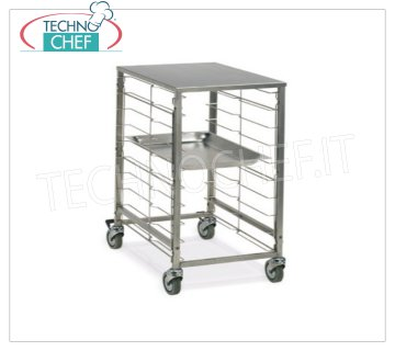 TECHNOCHEF - TROLLEY for 9 GN 2/1 TRAYS with STAINLESS STEEL TOP, Mod.2082 TRAYWAY TROLLEY with STAINLESS STEEL SUPPORT TOP, with stainless steel wire runners for 9 GN 2/1 TRAYS (530x650 mm), dim.mm.620x690x870h