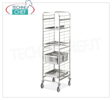 TECHNOCHEF - STAINLESS STEEL TROLLEY FOR 20 TRAYS GN 1/1, Mod.2090 RACK HOLDER TROLLEY with stainless steel wire guides for 20 TRAYS GN 1/1 (mm 530x325), dim.mm.470x630x1810h