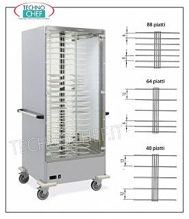 Hot plate trolleys HOT PACKAGING TROLLEY in version with PLATE PITCHER PITCH 120 MM. for a MAXIMUM of 40 DISHES with DIAMETER from 180 to 240 mm., ventilated heating with temp. between + 30 / + 60 ° C, V.230 / 1, Kw. 2.0, dim.mm. 830x770x1900h