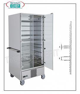 Refrigerated plate trolley for 90 plates with 15 650x650 mm grids REFRIGERATED READY-TABLE PLATE TROLLEY in the version with 15 GRILLS of mm.650x650 for a total of 60 PLATES with MAXIMUM DIAMETER of 310 mm. o 90 PLATES with MAXIMUM DIAMETER of 200 mm, temp. working temperature between + 6 / + 10 ° C, V.230, Kw.0,7, dim.mm.830x770x1900h