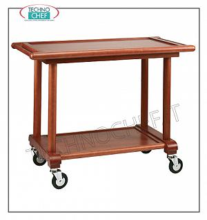 Wooden service carts 2-tier dining trolley, solid beech wood structure with smooth walnut-colored turned legs, plywood tops with frames, dim cm. 110x56x83h