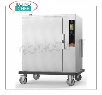 HOT and TEMPERATURE tempered maintainer trolley, 10 GN 2/1 HOT Trolley for MAINTENANCE and STORAGE in COOKED FOOD TEMPERATURE, Version with ELECTRONIC CONTROLS, capacity 10 gastro-norm 2/1, or 20 gastro-norm 1/1, V. 400/3, Kw 6.5, Weight 107 Kg, dimensions 990x825x1130h mm