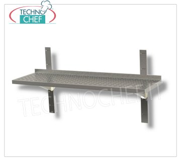 STAINLESS STEEL SHELF 304 WALL PERFORATED with LIFT, BRACKETS and RACK, 30 cm deep Perforated stainless steel wall shelf with upstand, 2 brackets and 2 racks, Weight 2 Kg, dim.mm.600x300x40h.
