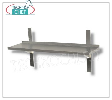 304 STAINLESS STEEL SMOOTH WALL SHELF with UPSTAND, BRACKETS and RACK, 30 cm deep Smooth stainless steel wall shelf with upstand, 2 brackets and 2 racks, Weight 2 Kg, dim.mm.600x300x40h.