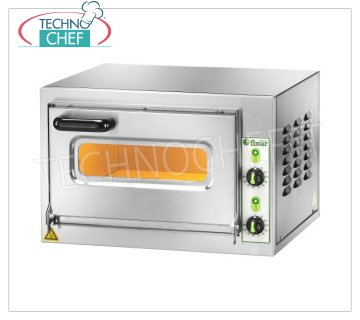 Technochef - 1 chamber electric pizza oven, mod. MICROVC22 ELECTRIC PIZZA OVEN, 1 CHAMBER mm.405x405x220h, with GLASS DOOR and Lighting, Refractory hob, 2 ADJUSTABLE THERMOSTATS for SOLE and SKY, temperature from + 50 ° to +500 ° C, V.230 / 1, Kw.2 , 2, Weight Kg. 33, external dim.600x560x400h