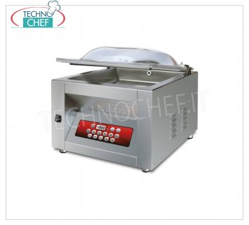 EUROMATIC - Technochef, Professional Bell Vacuum Machine, 35 cm Bar, Mod.MIDY DISPLAY VACUUM PACKAGING MACHINE with BENCH, CAMERA mm.360x400x190h, WELDING BAR 350 mm, VACUUM PUMP 8 / 9.6 meters / cubic / hour, V.230 / 1, Kw. 0.45, Weight Kg.42, dim.mm.460x500x420h