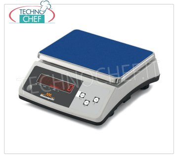 Digital electronic table scale, maximum load 30 Kg Digital electronic table scale, max. Load 30 kg, division 1 g, stainless steel plate mm. 255x185, with tare and net weight, Weight 3.8 Kg, dim. external mm. 255x300x110h