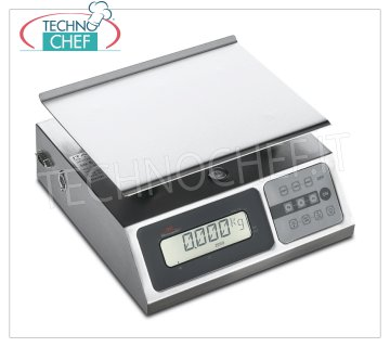 Digital electronic table scale, 40 kg max Digital electronic table scale, maximum load 40 Kg, division 10 gr, stainless steel plate mm. 240x180, with tare and net weight, Weight 3.5 Kg, dim. external mm. 248x253x132h