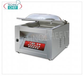 EUROMATIC - Technochef, Professional Bell Vacuum Machine, Bar 45 cm, Mod.MIXER DISPLAY BAG VACUUM PACKAGING MACHINE, CAMERA mm.460x500x220h, SOLDERING BAR 450 mm, VACUUM PUMP 20/24 meters / cubic / hour, V.230 / 1, Kw. 0.90, Weight 68 Kg, dim.mm.560x610x450h