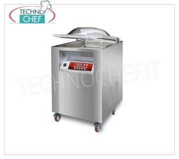 EUROMATIC - Technochef Vacuum Chamber Machine with Wheeled Cart, Bar 45 cm, Mod.MIXER / L VACUUM PACKAGING MACHINE PROFESSIONAL on MOBILE with WHEELS, CAMERA mm.460x500x220h, SOLDERING BAR 450 mm, VACUUM PUMP 20/24 meters / cubic / hour, V.230 / 1, Kw.0,90, Weight 90 Kg dim.mm.560x610x1050h
