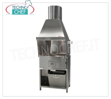 ROMAGNA GRILL - Technochef, Charcoal Grill / Romagna cuisine with 1 brazier, Romagna charcoal grill with 1 brazier complete with extractor hood and relative motor and BASE INOX support, V.230 / 1, Kw.0,75, Weight 150 Kg, dim.mm.800x850x2370h.