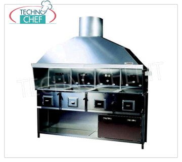 ROMAGNA GRILL - Technochef, charcoal grill / Romagna cuisine with 4 braziers Romagna charcoal grill with 4 braziers, complete with extractor hood with relative motor and base support INOX, V.230 / 1, Kw.0,75, Weight 230 Kg, dim.mm.2150x850x2410h.