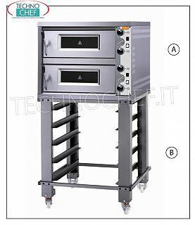 Electric monobloc pizza oven, 2 rooms for 4 + 4 pizzas MONOBLOCK electric pizza oven for 4 + 4 pizzas diam. 30 cm, with 2 INDEPENDENT CONTROL BEDROOMS of mm 610x660x140h, refractory top, MORETTI - GRAIN line, V 400/3, Kw 8.4, dim. external mm 850x840x660h