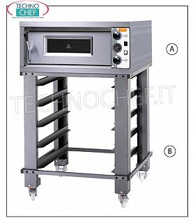 Electric monobloc pizza oven, Transversal chamber for 6 Pizzas Electric pizza oven for 6 pizzas diam. 30 cm, with CAMERA 1060x660x140h, top in refractory, line MORETTI - GRAIN, V 380/3, kW 8,2, dim. external mm 1320x890x360h