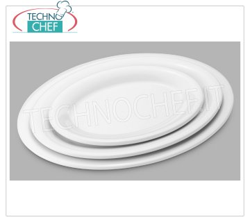 Technochef - OVAL PLATE in MELAMINE EXTRAFORTE Oval white extra strong melamine plate, dim.mm.243x182x21h
