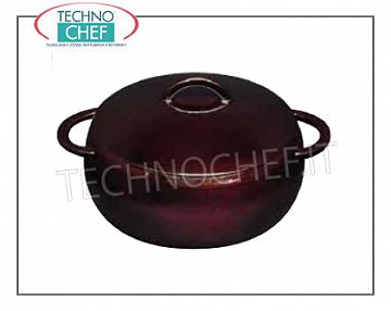 Technochef - Enamelled cast iron dished casserole, 20 cm Rounded enameled cast iron casserole, Diameter 20 cm, Brand ILSA - Available in packs of 2 pieces