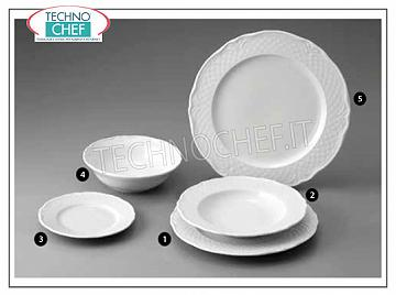 SATURNIA - WHITE MALAGA Porcelain Collection - Restaurant Plates FLAT PLATE, Malaga White Collection, Diameter 26 cm, Brand SATURNIA - Available for purchase in 12 pieces pack