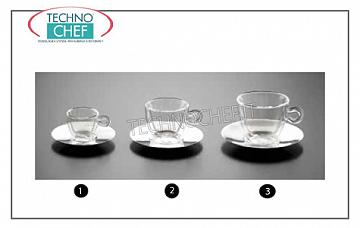Coffee cups - cappuccino in glass COFFEE CUP WITH STAINLESS STEEL DISH, LUIGI BORMIOLI, Duos Thermal Collection