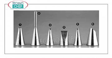Decoration bag nozzles Stainless steel nozzle with round hole for decorating, MM.2 - Packable in 6-pack