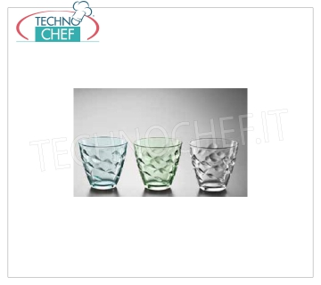 Colored Glasses GREEN WATER GLASS, BORMIOLI ROCCO, Flora Collection, CL.26, H 8, Diam.cm.8,5 - Available in packs of 6 pieces.