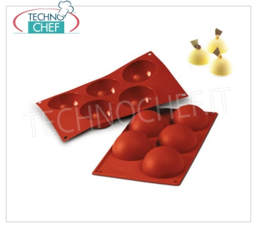 "Silicone mold '' 5 Semisphere '', Ø80 h 40 mm Baking mold ""5 Semispheres"" in flexible and non-stick silicone, diameter 80 mm, h 40 mm"