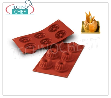 Silicone mold '' Gugelhopf '', Ø70 h 36 mm '' Gugelhopf 'baking mold in flexible and non-stick silicone, diameter 70 mm, h 36 mm