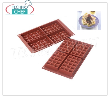 Silicone mold '' Waffel '', dim.mm 130x81 h 17 '' Waffel 'baking mold in flexible and non-stick silicone, dim.mm130x81, h 17 mm