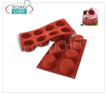 '' Cylinders '' silicone mold, Ø60 h 35 mm '' Cylinders '' baking mold in flexible and non-stick silicone, 60 mm diameter, h 35 mm