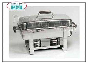 Chafing dish / Warmers GN 1/1 INOX SCALDAVIVAND WITH COMBUSTIBLE CM. 55X35X35H