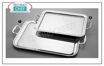 Stainless steel trays RECTANGULAR PORTABLE TRAY WITH CM HANDLES. 40x32