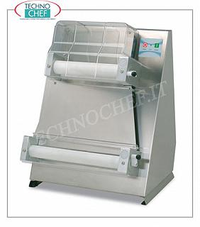 Pizza dough with 2 pairs of 400 mm parallel rollers, mod. SDL40P Stainless steel pizza rack with 2 PAIRS of LONG PARALLEL ROLLERS mm 400, for 100/700 grams of bread, V 230/1, kW 0,37, dim. mm 520x450x750h