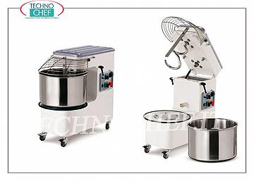 SPIRAL MIXER 18 kg, with HEAD LIFTING and EXTRACTABLE BATH, mod. PK18AM Spiral mixer with liftable head and 20-liter removable bowl, mixing capacity 18 Kg, V 230/1, kW 0.90, dim. mm 697x390x702h