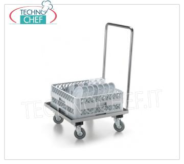 STAINLESS STEEL HOLDER TROLLEY Stainless steel basket holder trolley, with low watertight top