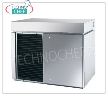Flake ice makers / machines without deposit Flake ice maker, without deposit, stainless steel exterior, air / water cooling, V 400/3, Kw 4,6, yield 900 Kg / 24 hours, dimensions 1107x700x880h mm, weight 241 kg.