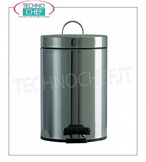 Stainless steel waste bins Bright AISI 430 stainless steel bin, lid with pedal opening and rear handle, 3 liters, diam.mm.168x260h, price each - Buyable in a pack of 6