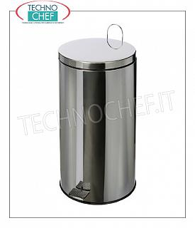 Stainless steel dustbin Stainless steel dustbin with transport handle, pedal cover, liters 40, diam.mm.360x625h