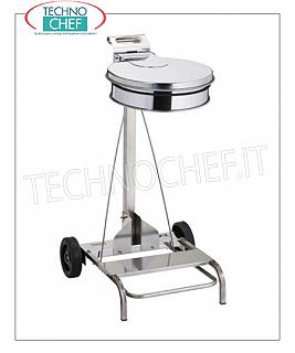 Dustbins dustproof AISI 430 stainless steel ladder trolley on wheels, pedal cover, for 110 liter sacks, dim.mm.555x600x990h