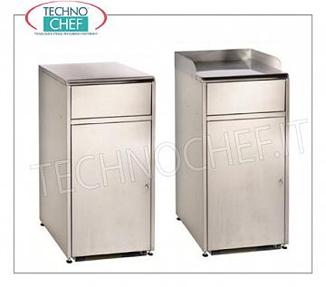 Stainless steel cabinets for clearing self-service trays Satin stainless steel cabinet for clearing self-service trays with tilting door, hinged door and tray support surface, dim.mm.615x560x1125h