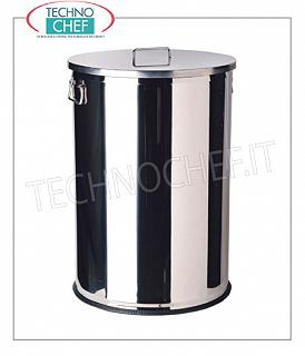 Stainless steel waste bins Stainless steel bin with side handles and removable lid, 70 liters, diam.mm.425x650h