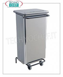Stainless steel waste bins Bright stainless steel dustbin on wheels, lid with pedal opening, 110 liters, dim.mm.480x420x965h