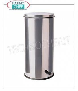Stainless steel dustbin Stainless steel dustbin, foot pedal cover, liters 50, diam.mm.365x720h