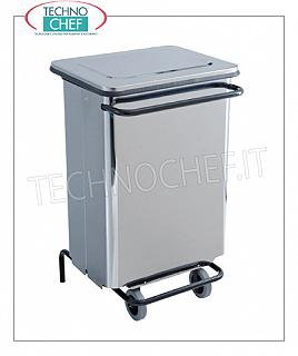 Stainless steel dustbin Brilliant stainless steel dustbin, pedal cover, liters 70, dim.mm.480x420x755h