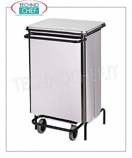 Stainless steel dustbin Stainless steel dustbin on wheels, pedal cover with book opening, liters 70, dim.mm.480x420x755h