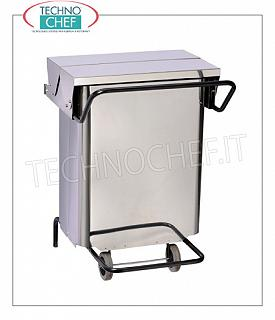 Stainless steel dustbin Stainless steel dustbin on wheels, pedal cover with central opening, liters 70, dim.mm.550x520x725h