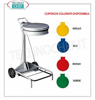 Bag holder trash cans Sack holder in white painted metal on wheels, YELLOW color lid with pedal opening, for 110 liters bags, dim.mm.555x600x990h