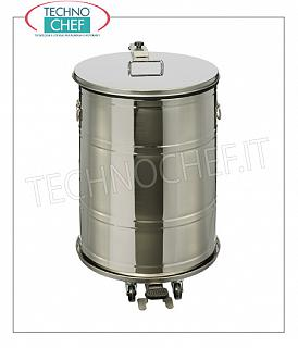 Stainless steel dustbin Watertight stainless steel dustbin on wheels, foot pedal cover, liters 70, dim.mm.430x520x675h